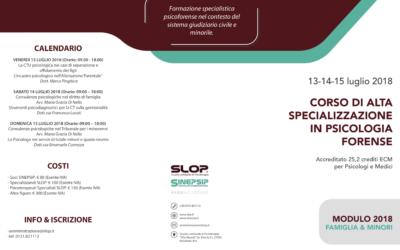 13-14-15/07/18 – CORSO DI ALTA SPECIALIZZAZIONE IN PSICOLOGIA FORENSE